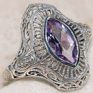 2CT Marquis Amethyst 925 Silver Art Deco Ring S/6